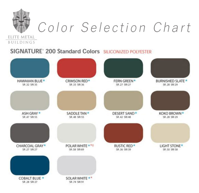 Assembly Color Chart Elite Metal Buildings